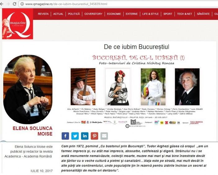 Q Magazine - De ce iubim Bucurestiul - Cristina Nichitus Roncea