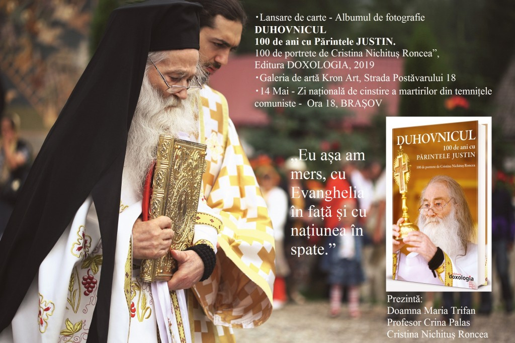 Lansare la Brasov Duhovnicul - 100 de ani cu Parintele Justin Parvu de Cristina Nichitus Roncea - Editura Doxologia 2019